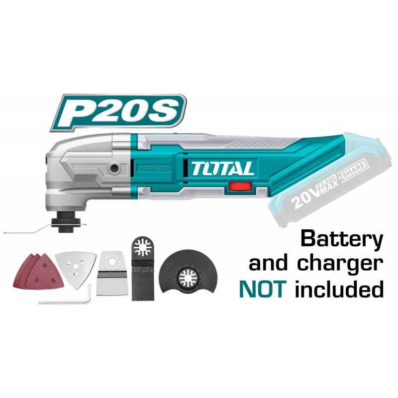 Multiherramienta Inalámbrica 20V Litio-Ion + Accesorios Sin Batería ni Cargador Total Tools TMLI2001