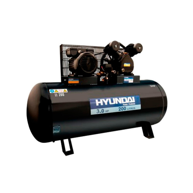 Compresor de Aire Monofásico 3HP 200L 115psi Hyundai 82HYHM200