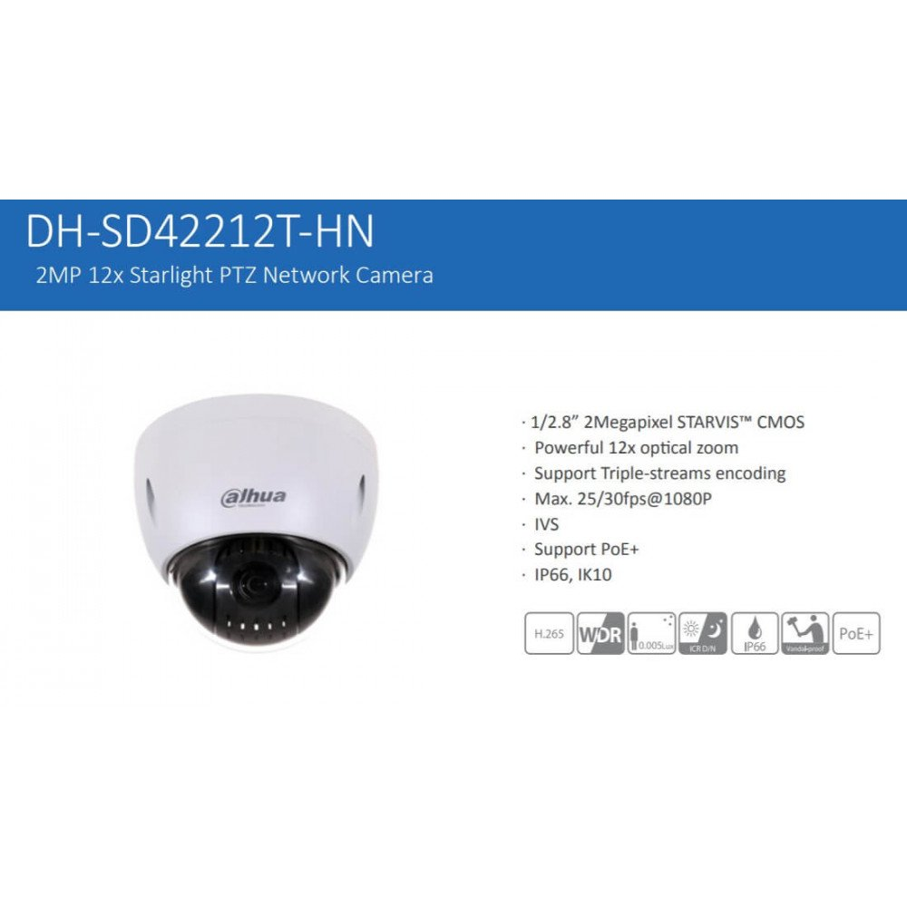 Cámara de Seguridad Domo PTZ IP 2MP SD42212T-HN Dahua 120117306