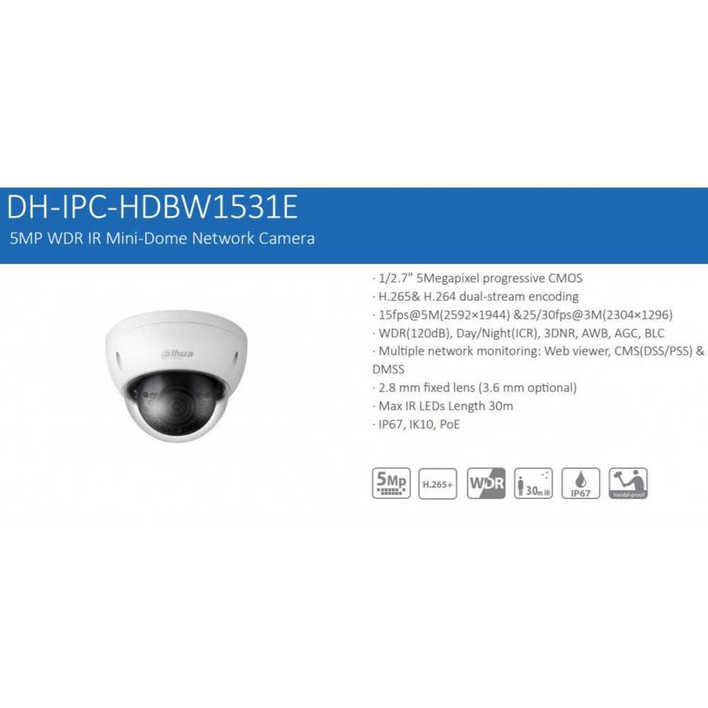 Cámara de Seguridad Domo IP 30m 5MP HDBW1531E Dahua 12017007