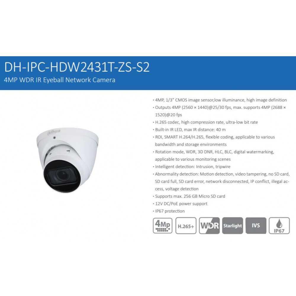 Cámara de Seguridad Eyeball IR 40m 4MP DH-IPC-HDW2431TN-ZS-S2 Dahua 1201172338