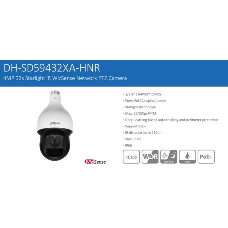 Cámara de Seguridad Domo PTZ Motorizado 150m 4MP DH-SD59432XAN-HNR Dahua 1201172344
