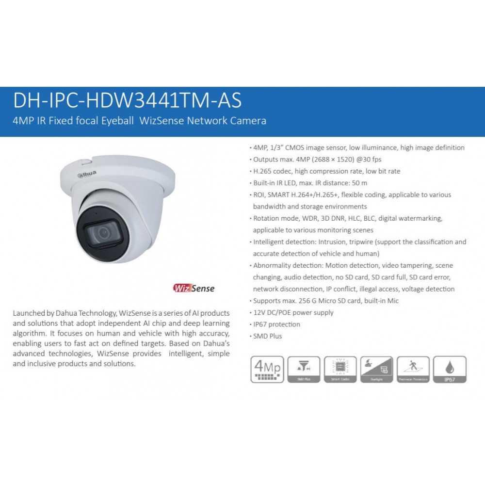 Cámara de Seguridad Domo IP IR 50m 4MP IPC-HDW3441TM-AS Dahua 1201172352