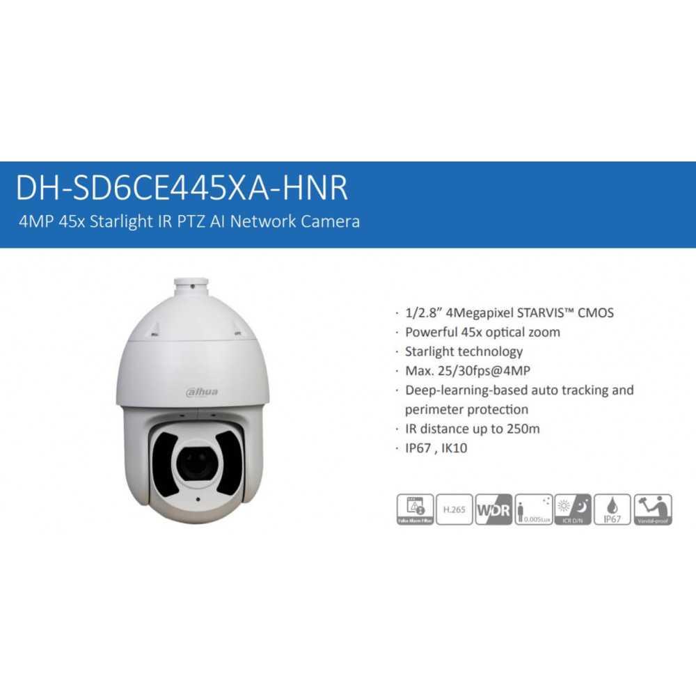 Cámara de Seguridad PTZ IR IA 250m 4MP DH-SD6CE445XA-HNR Dahua 1201172323