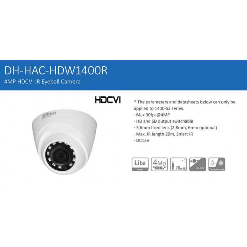 Cámara de Seguridad Eyeball 20m 4MP DH-HAC-HDW1400R-0280B-S2 Dahua 1201172339