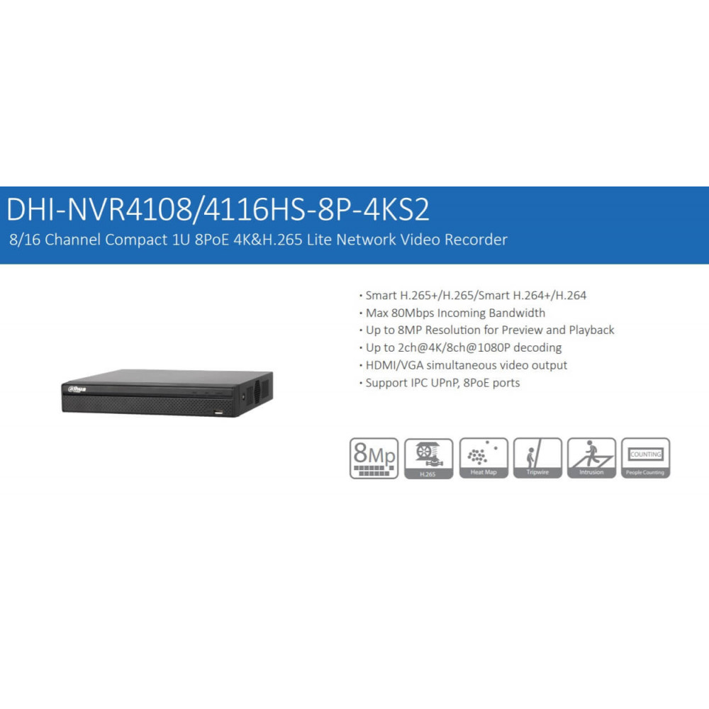NVR Grabador 8 Canales 4K 8MP sin HDD NVR4108HS-8P-4KS2 Dahua 12017016