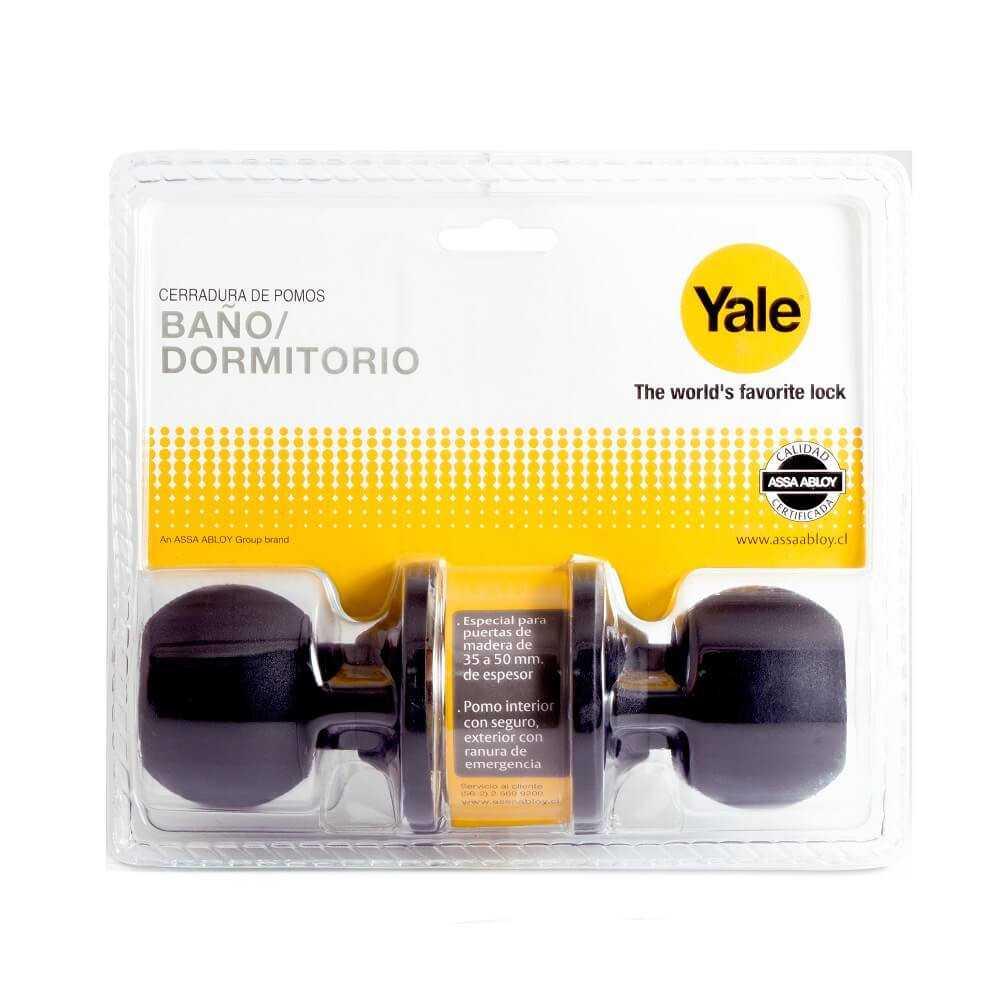 Cerradura Cilíndrica Baño-Dormitorio Negra Yale 140921