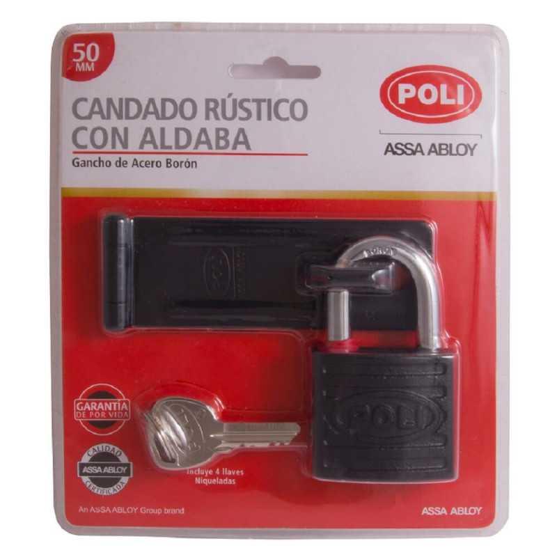 Candado Rústico P/150 50mm + Aldaba Negra Poli 142201
