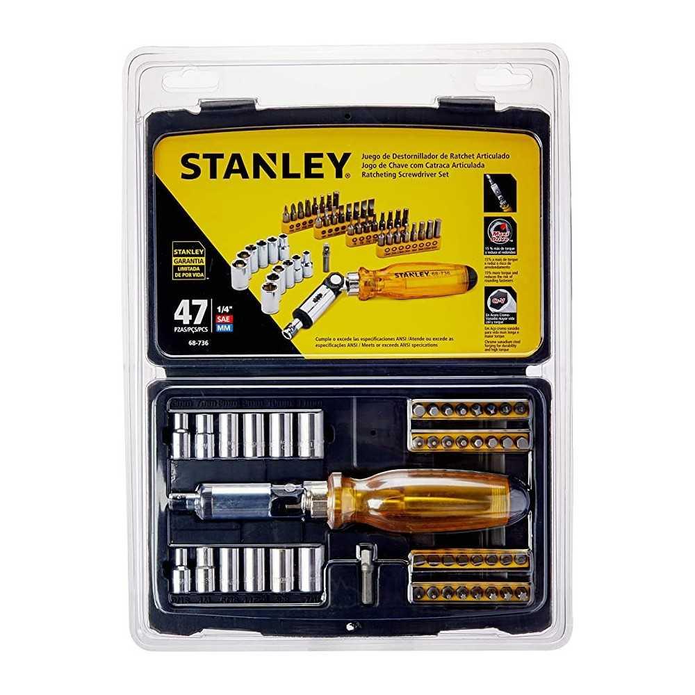 Destornillador Ratchet - Puntas intercambiables 47 pzs Stanley 68-736