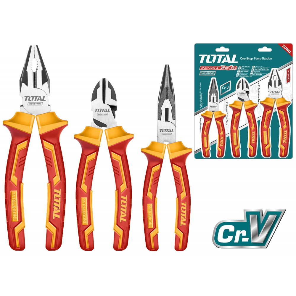 Set de Alicates Aislados 3 pzs 1000V Total Tools THT2K0302