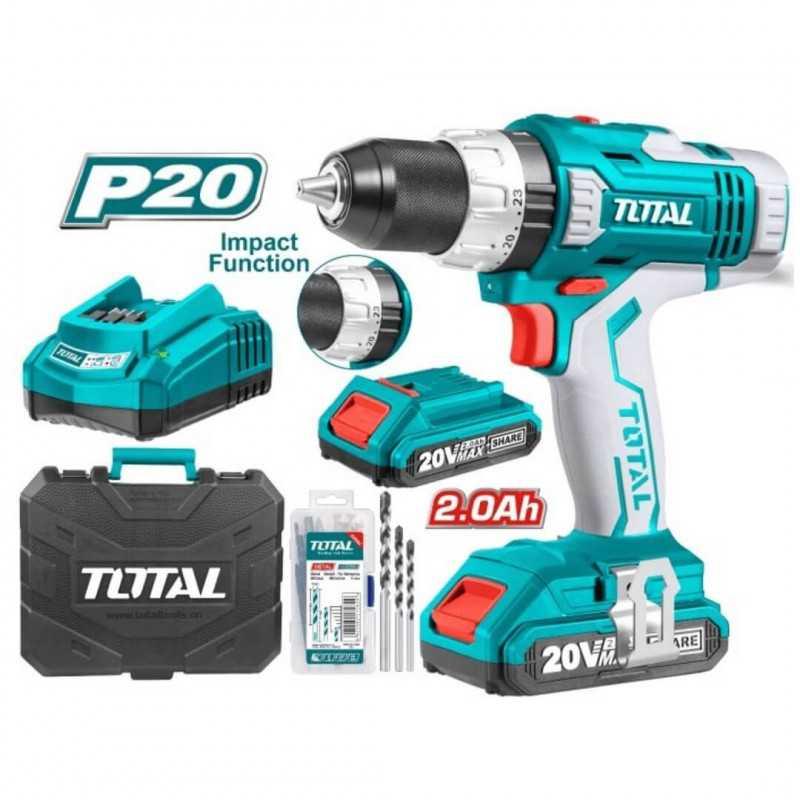 Taladro Atornillador Inalámbrico 1/2'' (13mm) 20V + Baterías + Cargador + Accesorios Total Tools TIDLI20031
