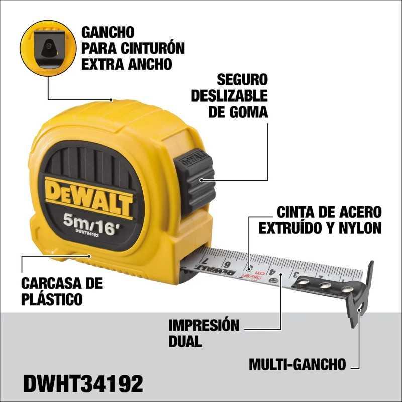 Huincha de Medir 5m/16'x25mm DeWalt DWHT34192L
