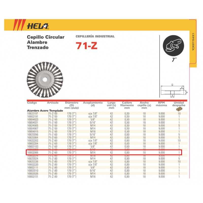"""Grata Plana 7"""" 71Z60 M14 Acero Trenzado Hela 1080206"""
