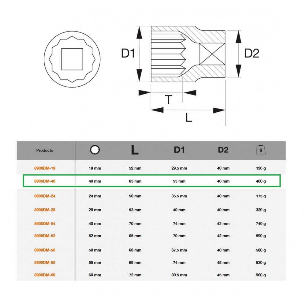 """Dado Poligonal 3/4""""x40mm Bahco 8900DM-40"""