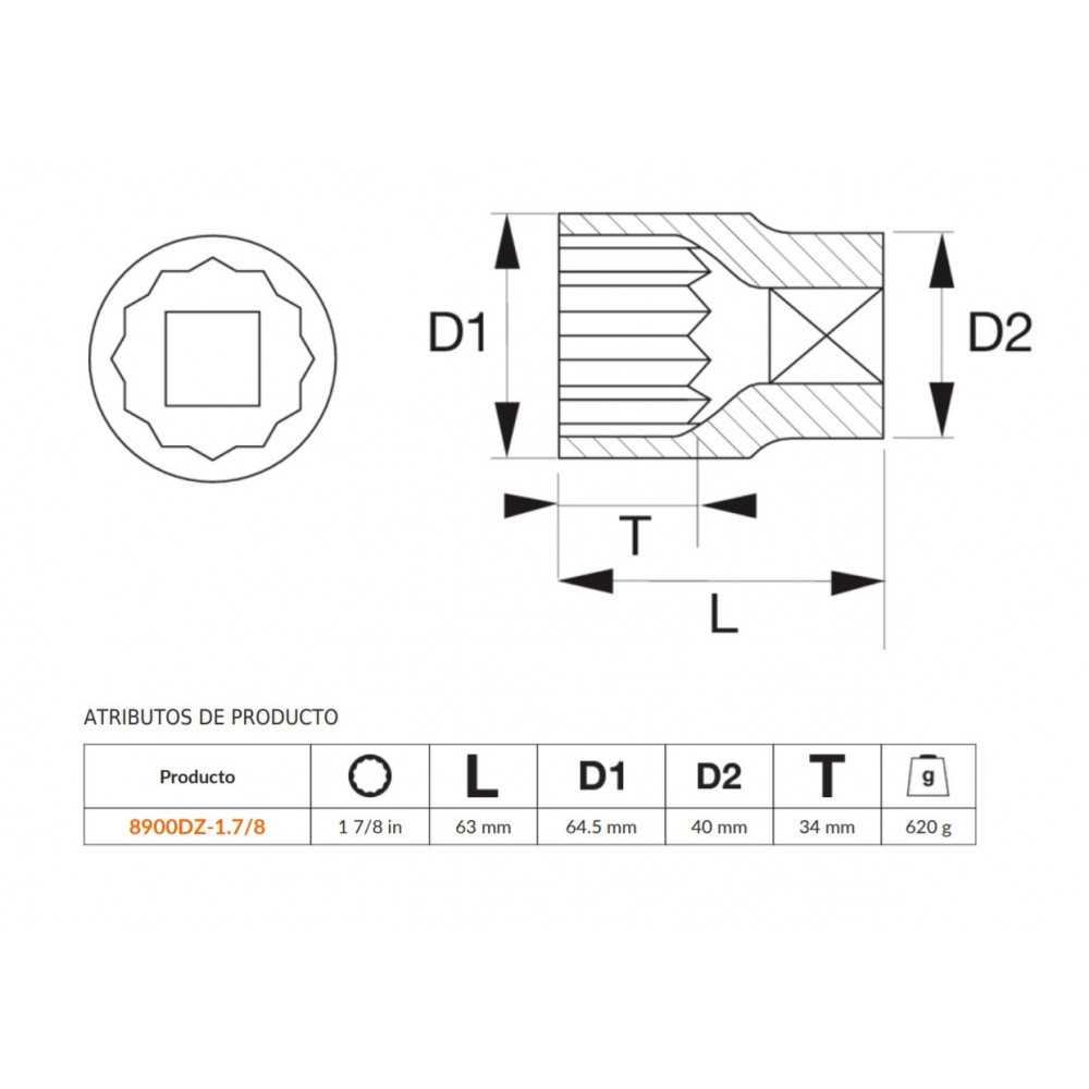 """Dado Poligonal 3/4""""x1.7/8"""" Bahco 8900DZ-1.7/8"""