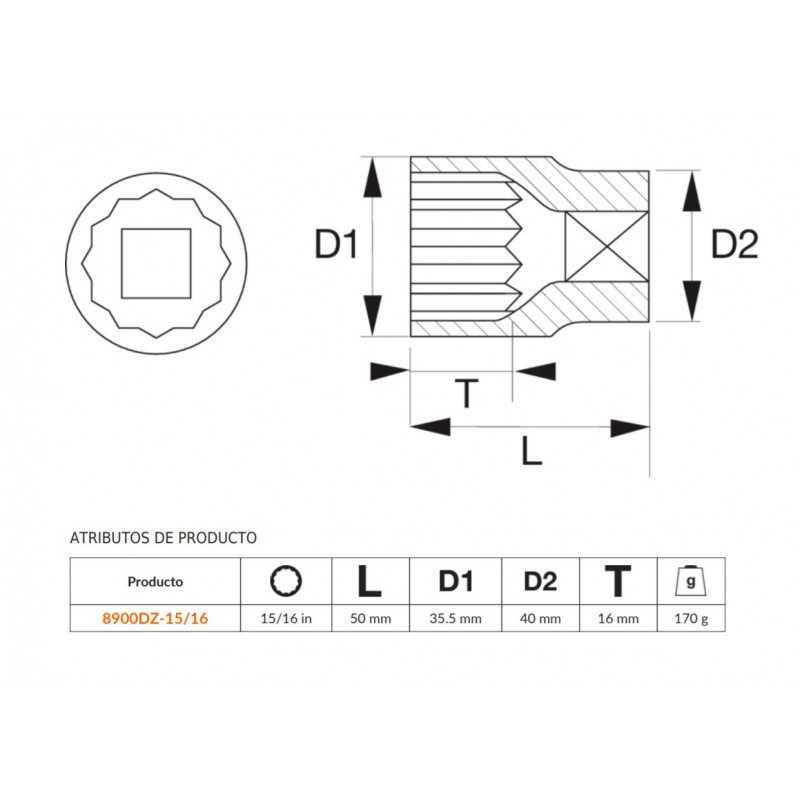 """Dado Poligonal 3/4""""x15/16"""" Bahco 8900DZ-15/16"""