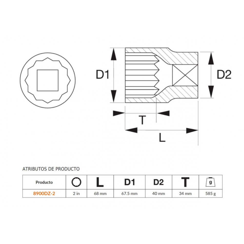 """Dado Poligonal 3/4""""x2"""" Bahco 8900DZ-2"""