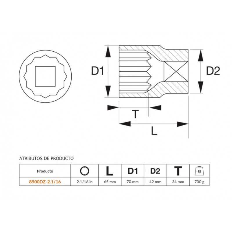 """Dado Poligonal 3/4""""x2.1/16"""" Bahco 8900DZ-2.1/16"""