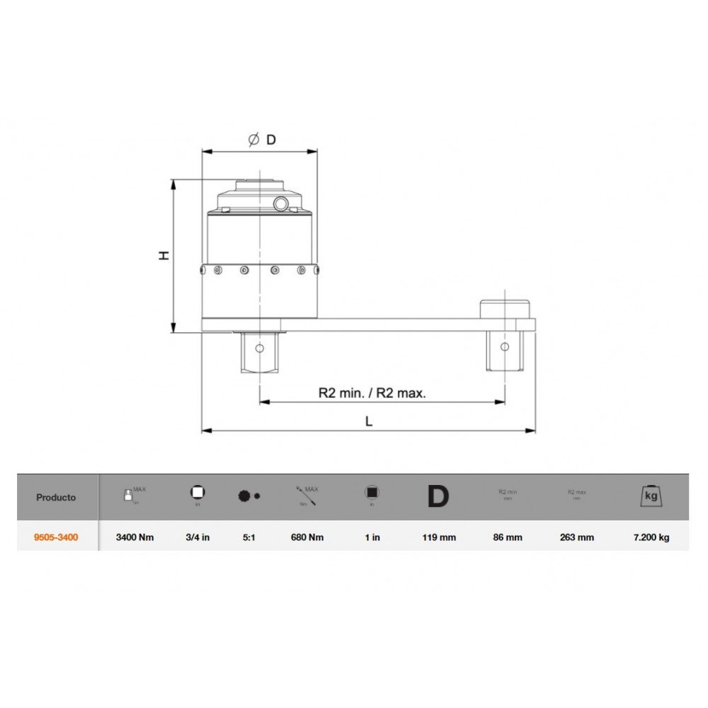Multiplicador de Par Manual con Placa de Reacción 3400NM Bahco 9505-3400
