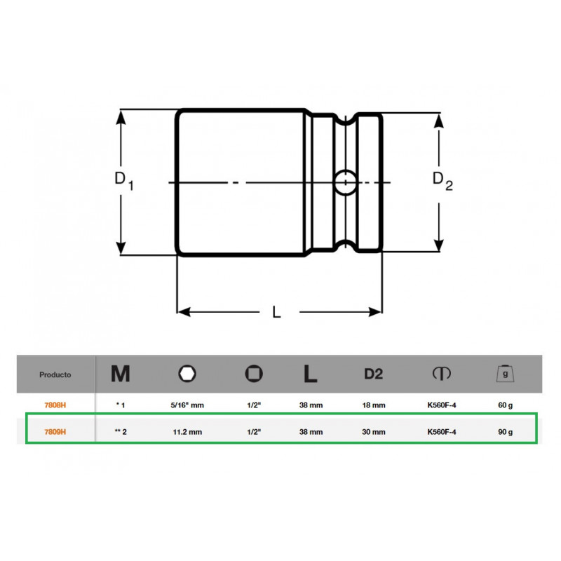 "Adaptador 11.2mm 1/2"" Bahco 7809H"