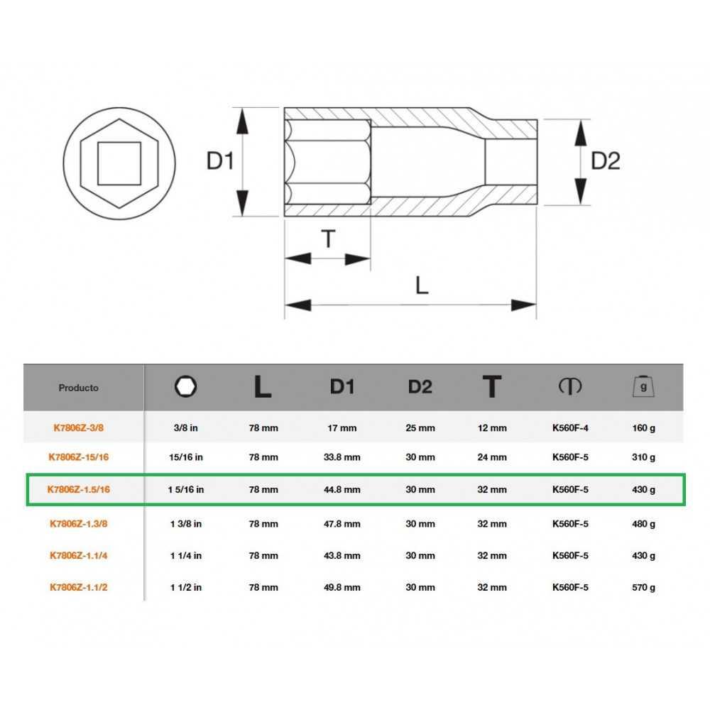 """Dado de Impacto 1/2""""x1.5/16"""" Serie Larga Bahco K7806Z-1.5/16"""