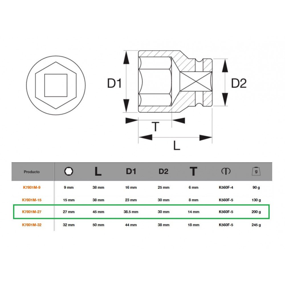 "Dado de Impacto Hexagonal 1/2""x27mm Bahco K7801M-27"