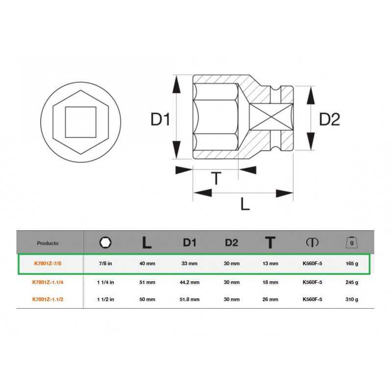 """Dado de Impacto Hexagonal 1/2""""x7/8"""" Bahco K7801Z-7/8"""