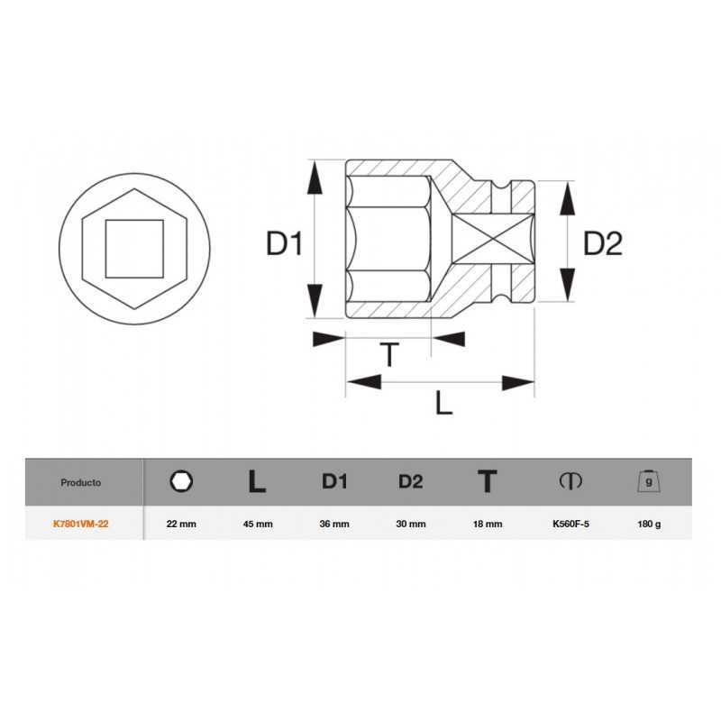 """Dado de Impacto Hexagonal 1/2""""x22mm Bahco K7801VM-22"""