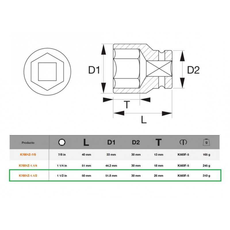 """Dado de Impacto Hexagonal 1/2""""x1.1/2"""" Bahco K7801Z-1.1/2"""