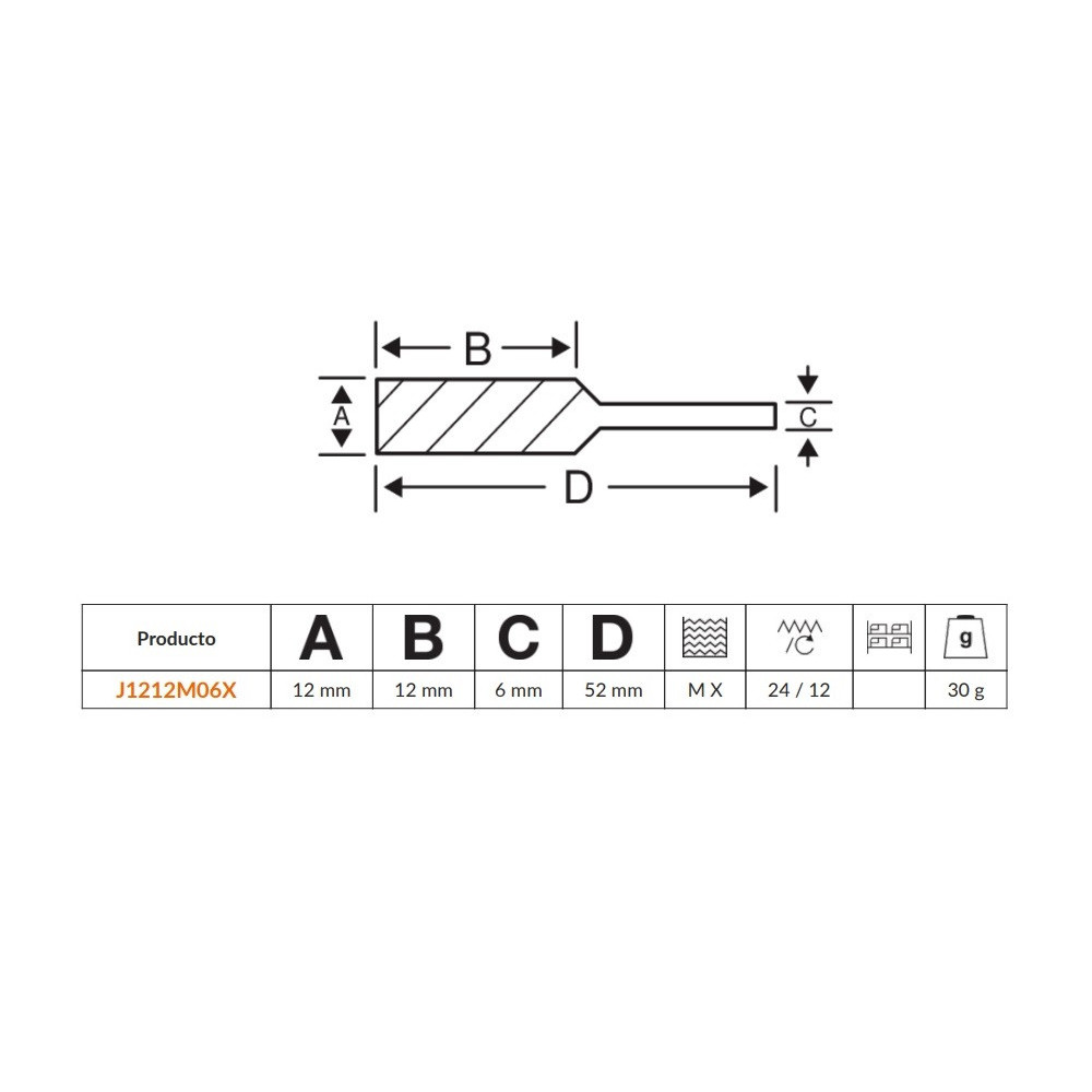 Lima Rotativa Cónica 60° 12x12mm para metal Bahco J1212M06X