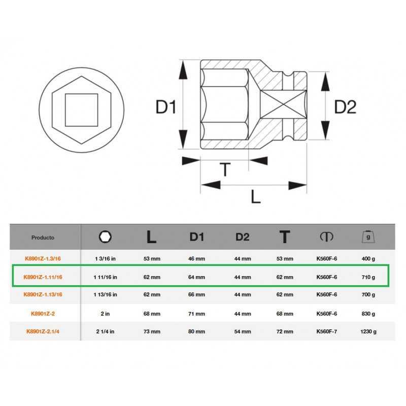 """Dado de Impacto Hexagonal 3/4""""x1.11/16"""" Bahco K8901Z-1.11/16"""