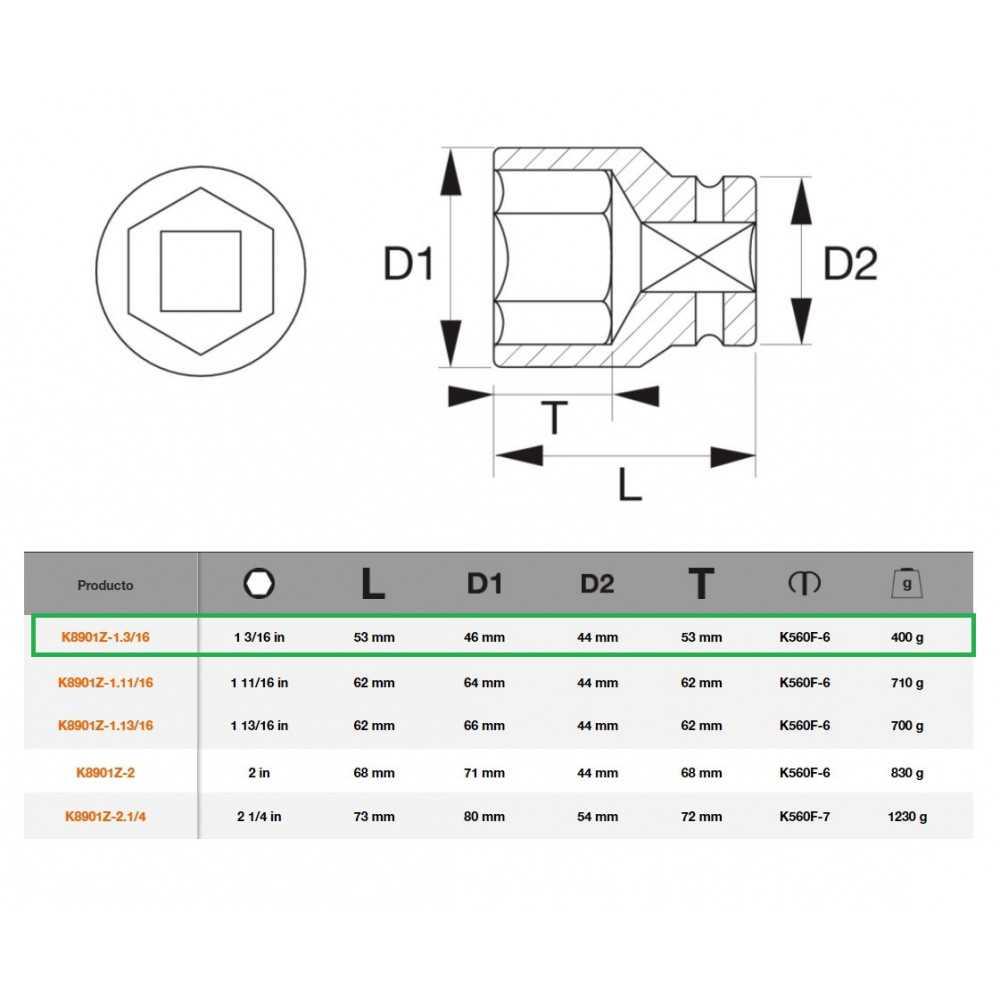 """Dado de Impacto Hexagonal 3/4""""x1.3/16"""" Bahco K8901Z-1.3/16"""