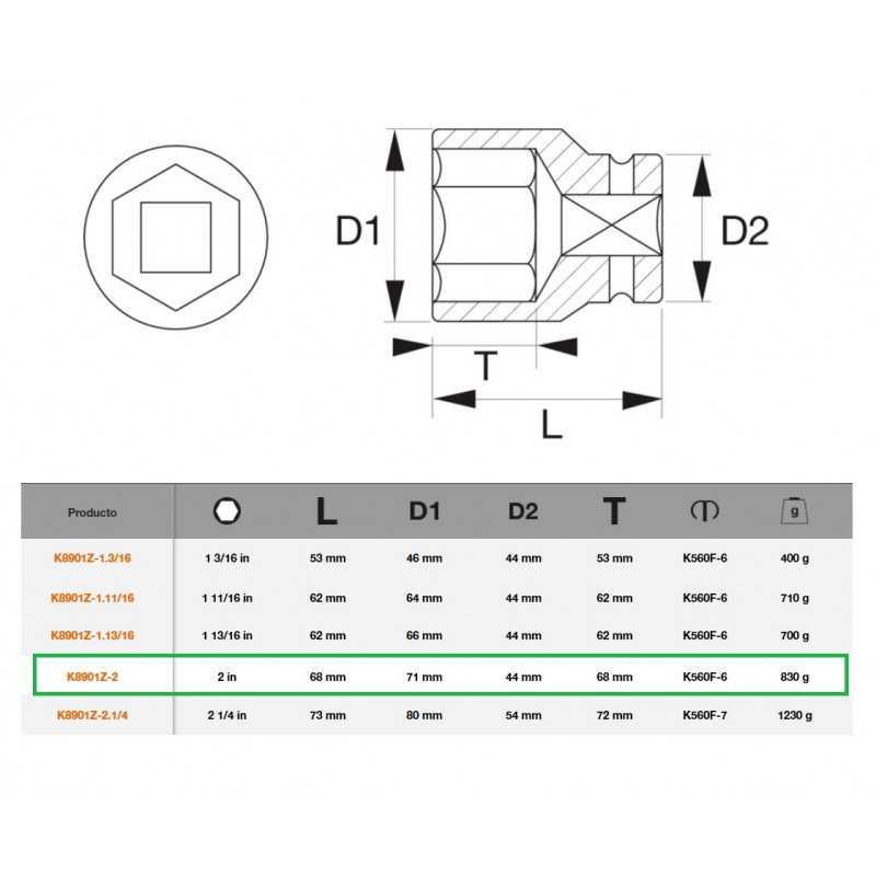 """Dado de Impacto Hexagonal 3/4""""x2"""" Bahco K8901Z-2"""