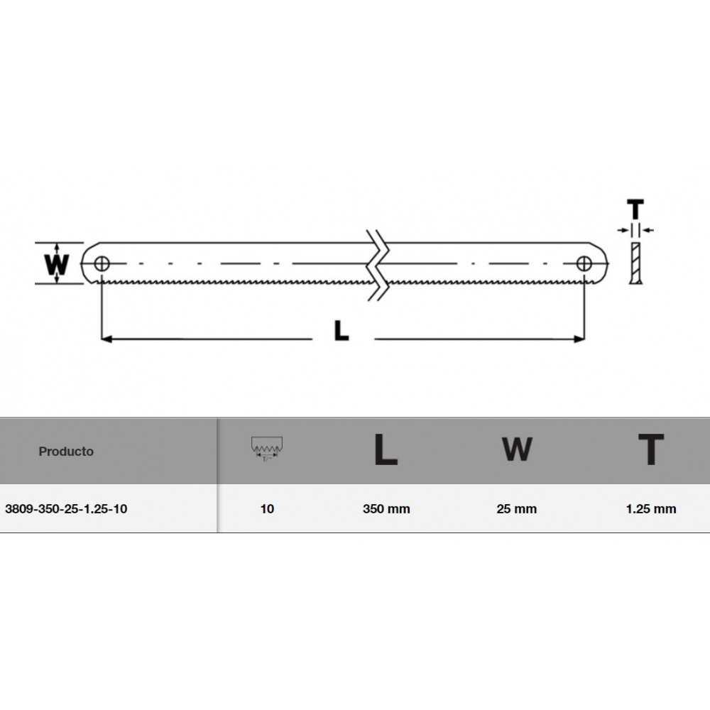 Hoja Sierra Bimetal 350x25x1,25 mm para máquina bimetal Sandflex Bahco 3809-350-25-1.25-10