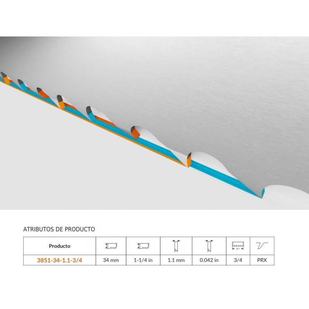 Hoja Sierra Cinta Corte de Producción Bimetal 3/4 DPP de 1,1x34mm Bahco 3851-34-1.1-3/4