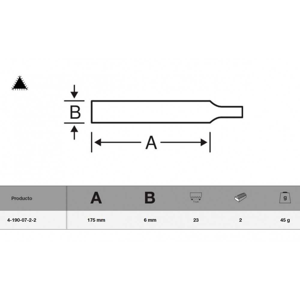 Lima Triangular de dos bocas ERGO™ 175 mm Bahco 4-190-07-2-2