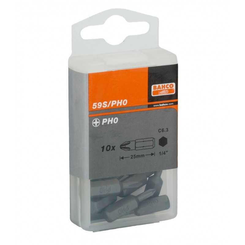 """Juego de Puntas estándar 1/4"""" para tornillos Phillips PH2 de 25 mm 10 pzs Bahco 59S/PH2"""