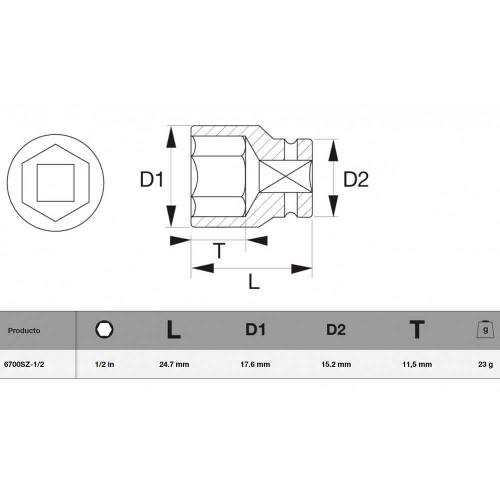"""Dado Cuadrante 1/4"""" y perfil Hexagonal 1/2"""" Bahco 6700SZ-1/2"""