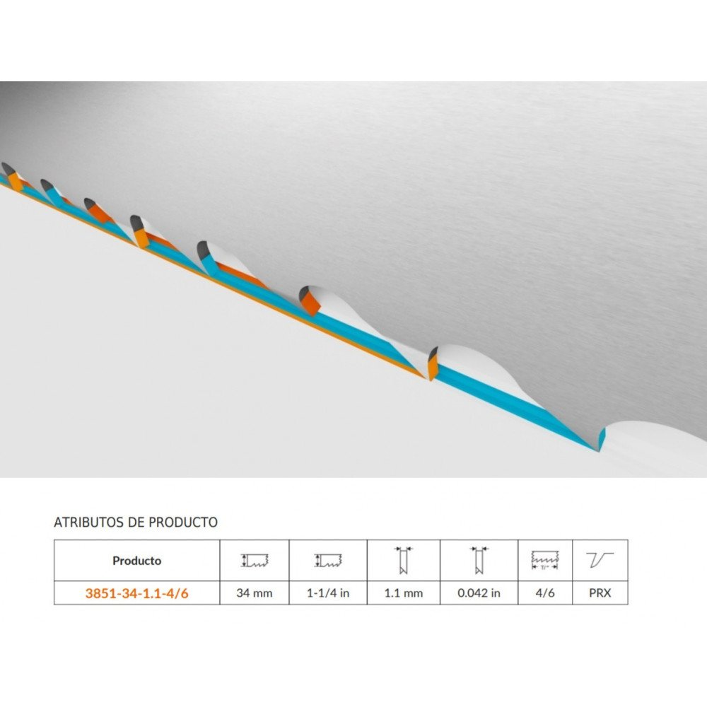 Hoja Sierra Cinta Corte de Producción Bimetal 4/6 DPP de 1,1x34 mm Bahco 3851-34-1.1-4/6