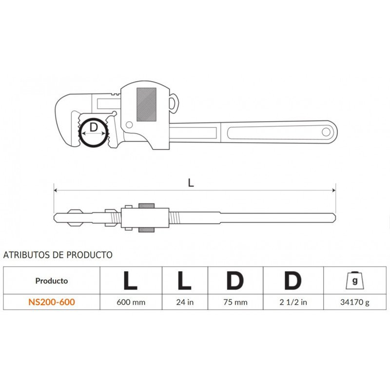 "Llave de Tubo Stillson 24"" (600mm) Anti-chispa De Aluminio Bronce Bahco NS200-600"