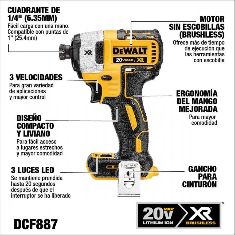 Kit Taladro Percutor Inalambrico 13mm 20v + Atornillador 20v + 2 Baterias+Cargador DeWalt DCK223D2-B2