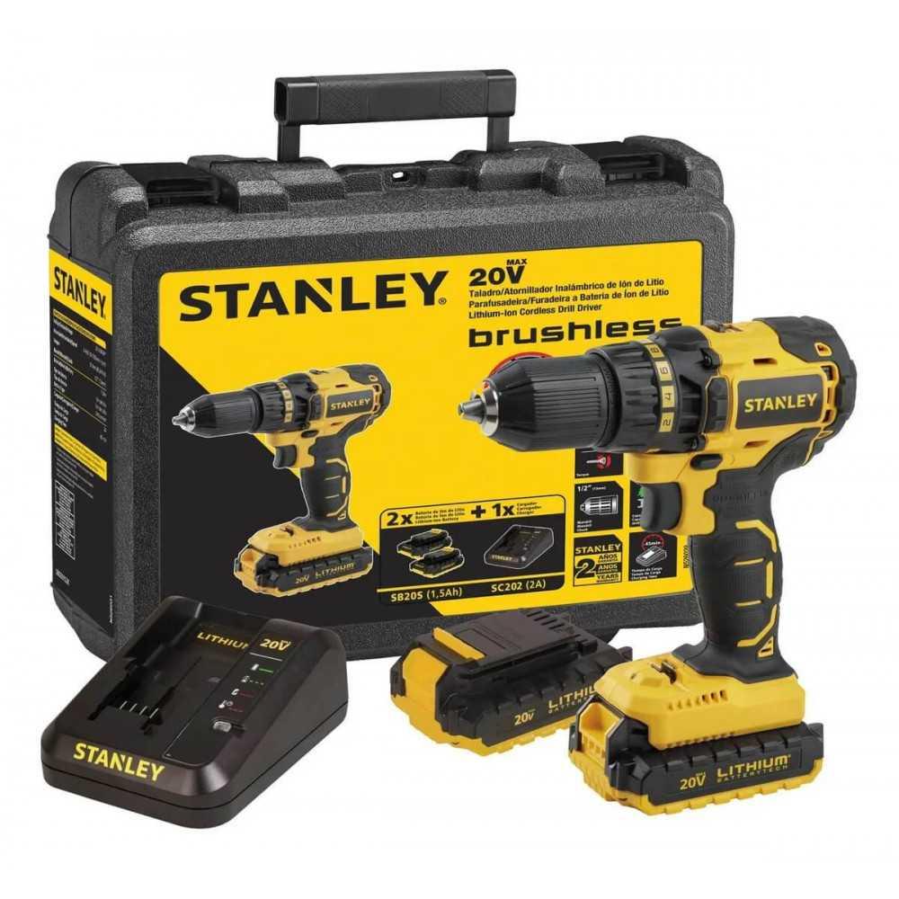 """Taladro Rotación Inalámbrico 1/2"""" 20v + 2 Baterías + Cargador+ Maleta Stanley SBD201S2K-B2C"""