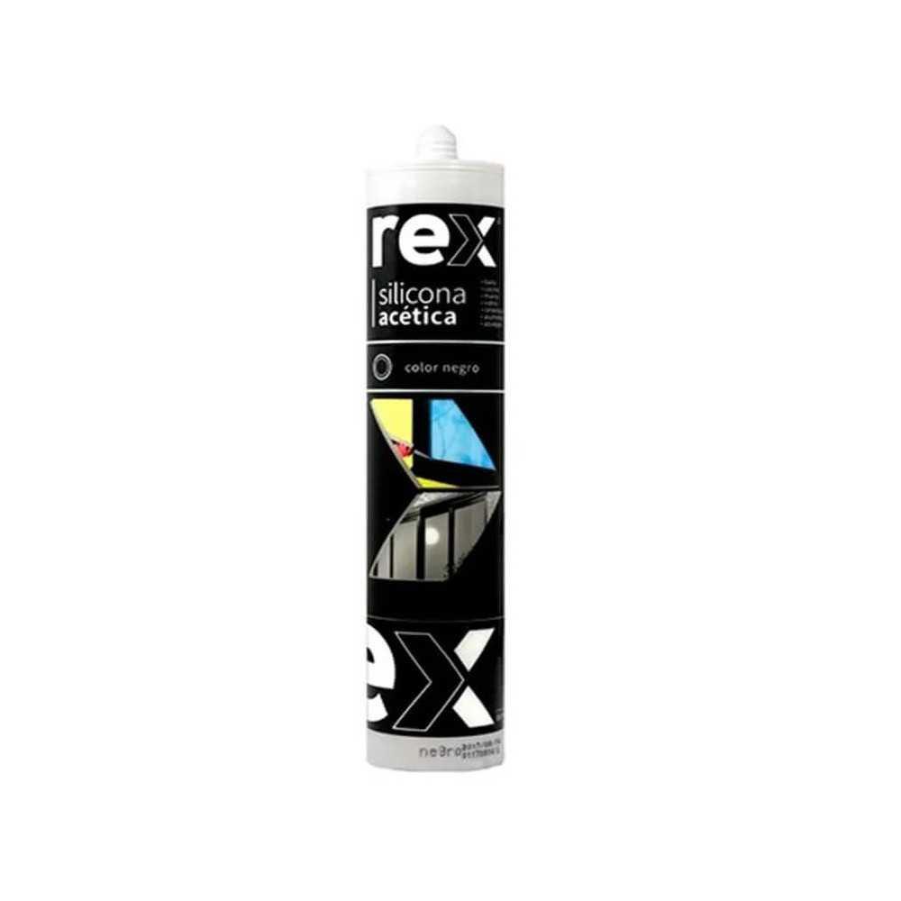 Silicona Acética, Negro, Cartucho 300 ml Rex 30363
