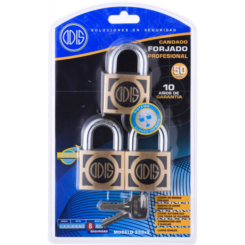 Set Candados 3 pzs 50mm Llaves Iguales Odis CAN0000062
