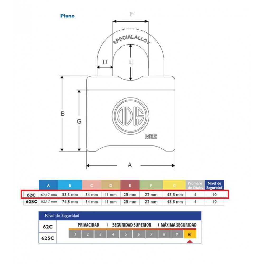 Candado de Combinación 62mm M62C PMB Odis CAN0000921
