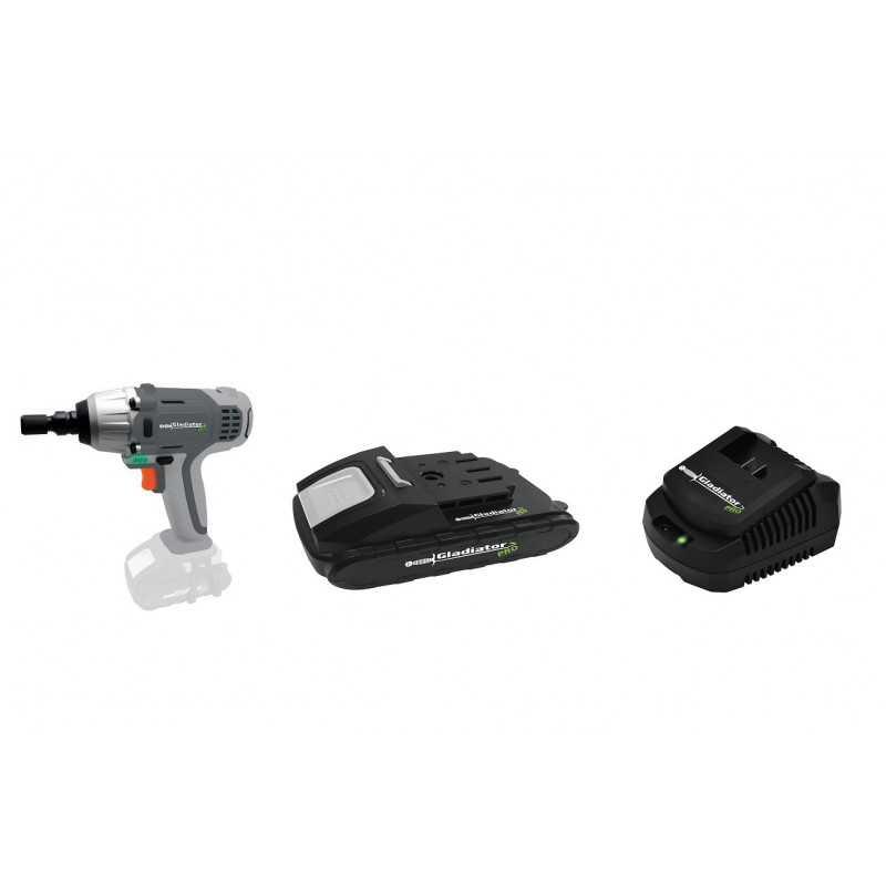 Kit Llave atornillador impacto18V+ Batería +Cargador Gladiator COMBO-6