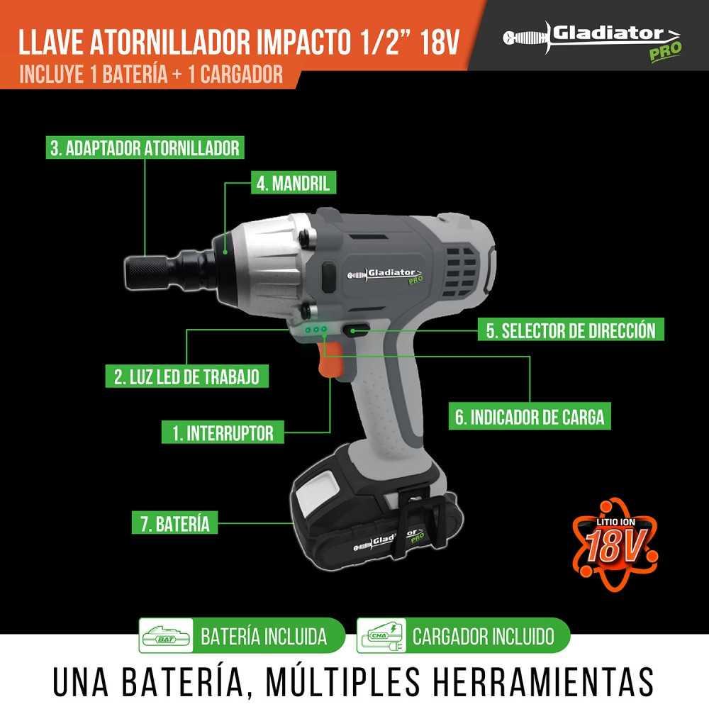 """Llave Atornillador de Impacto Inalámbrica 1/2"""" 18V + Batería + cargador ALI 812/18 Gladiator MI-GLA-054333"""