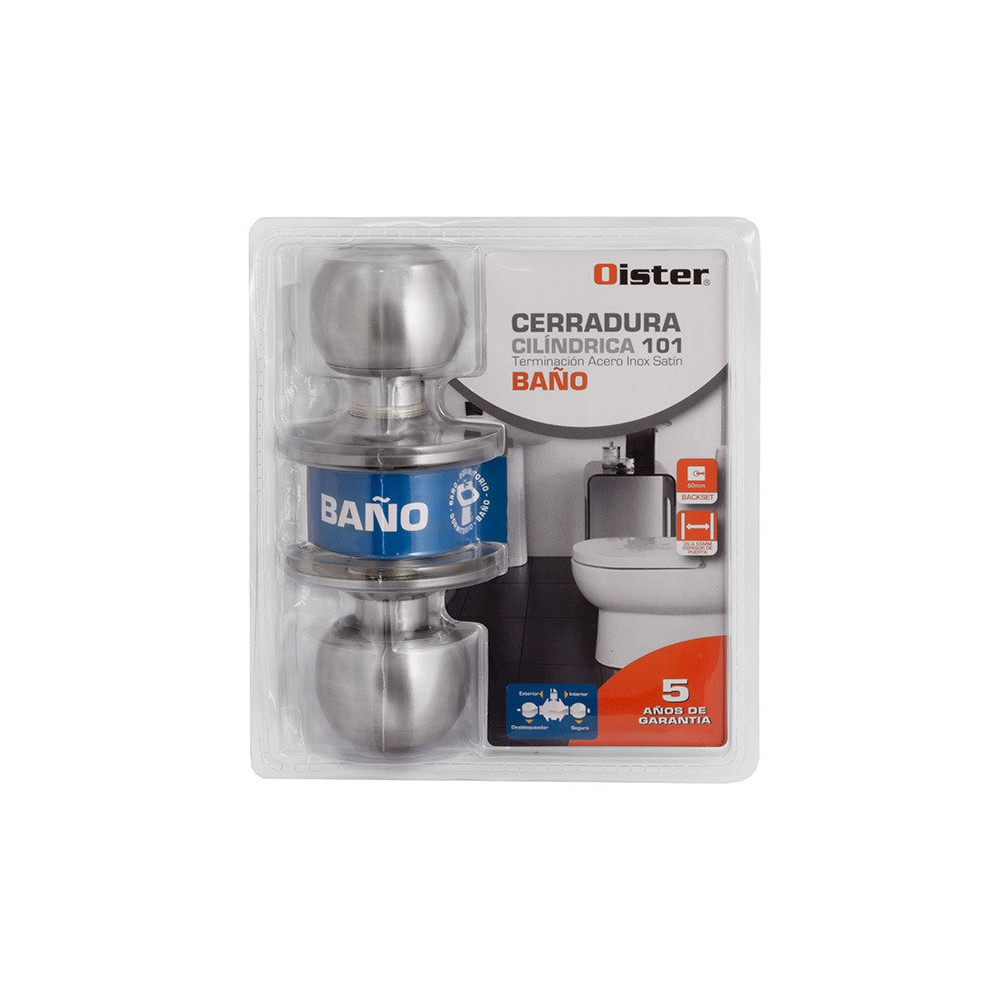 Cerradura Cilíndrica 101 Baño Inox Oister CEP0001290