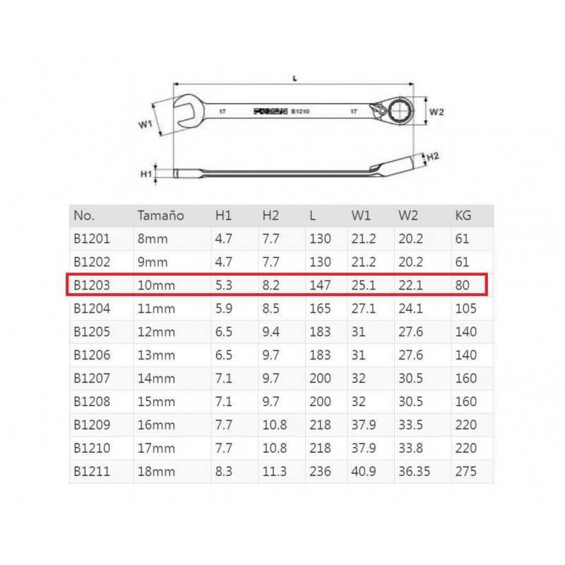 Llave Combinada con Chicharra en Corona Reversible 10MM Fixman B1203