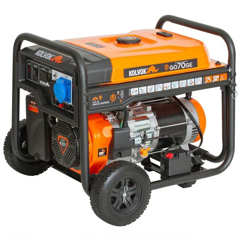 Generador Eléctrico a Gasolina 6500 W Monofásico GO70GE Kolvok 103011674